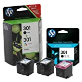 2x Black & 1x Colour Genuine Original HP 301 Ink Cartridges For use with HP Envy 5530 Printers