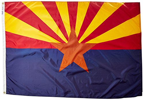 Annin Flagmakers Model 140270 Arizona State Flag 4x6 ft. Nylon SolarGuard Nyl-Glo 100% Made in USA to Official State Design Specifications.