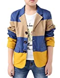 BYCR Boys' Fashion Three Colors Cotton Blazer for Kids Size 4-18 No. 71422192 (130 ( US Size 6-7 ), blue)