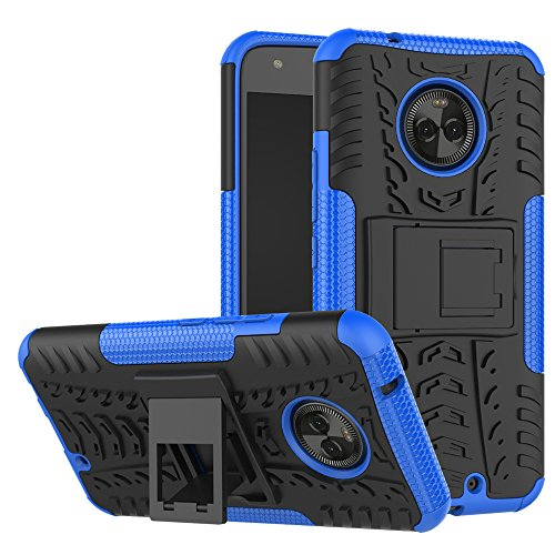 Moto X4 Case,Mustaner Dual Layer Shock-Absorption Armor Cover Full-body Protective Case with Kickstand Combo PC+TPU Back for Motorola Moto X4 2017 (Blue)