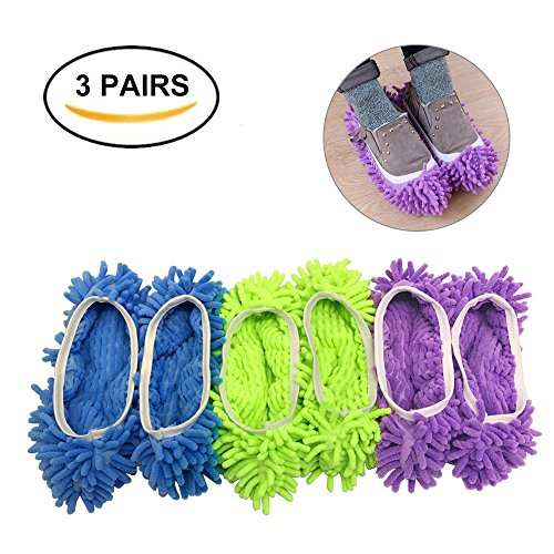 Dust Mop Slippers Shoes Cover, Multifunctional Washable Microfiber Dust Mop Shoes Socks for Floor, Kitchen, House Cleaning for Women, Men, Kids (3 Pairs)