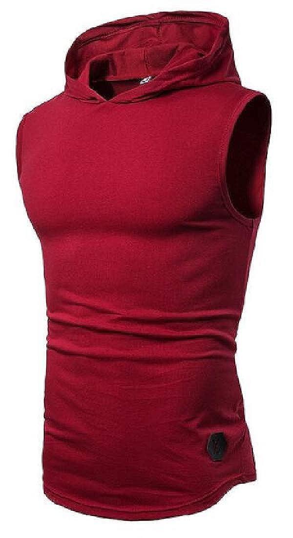 CRYYU Men Athletic Summer Hooded Short Sleeve Solid Tank Top T-Shirt