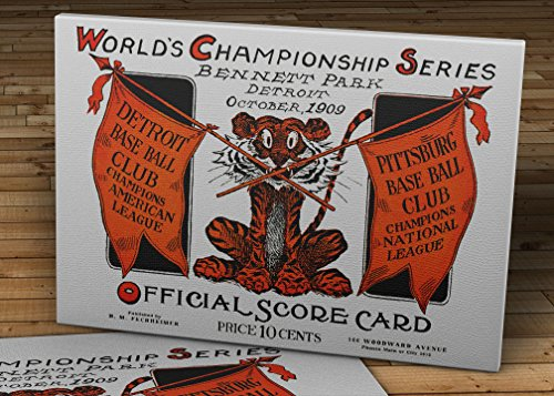 1909 Vintage Detroit Tigers - Pittsburgh Pirates World Series Score Card - Canvas Gallery Wrap - 18 x 12