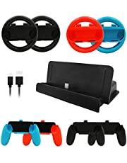 10 in 1 for Nintendo Switch Accessories Set 4 PCS Joy Con Controller Wheel + 4 PCS Grip Handle + 1 PCS Console Charge Stand + 1 PCS USB Cable