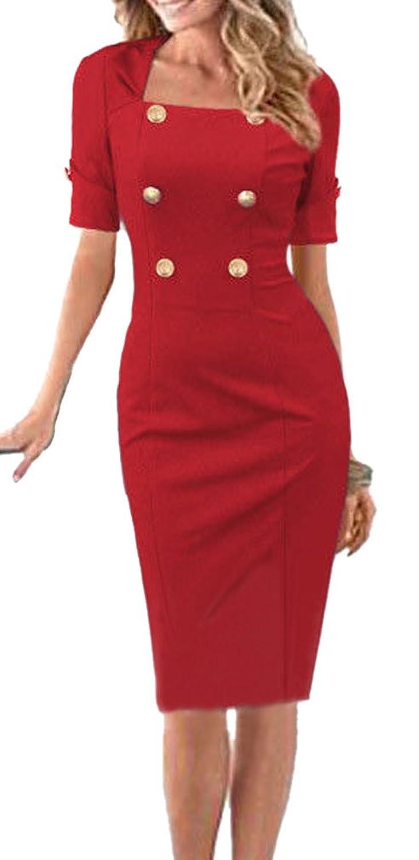Lecheers Damen Elegant Boot-Ausschnitt Button knielang Etui Celebrity Bleistift Business Cocktail Party Kleid Ballkleid