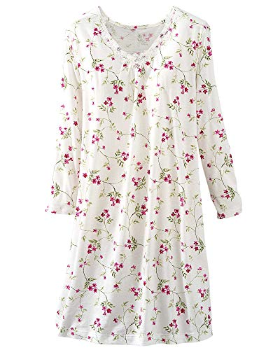 (Carole Hochman Floral Nightgown, Ivory Floral, Large)