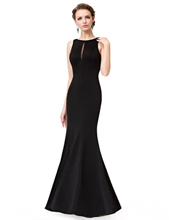 Ever-Pretty Womens Sleeveless Long Mermaid Style Sexy Open Back Prom Dress 6 US Black