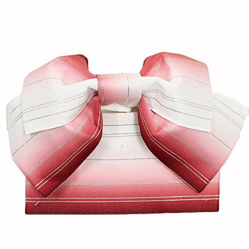 修正奨学金回復する【日本製浴衣帯】【白地に赤茶系のぼかし】作り帯 結び帯 簡単 浴衣 仕立て上がり