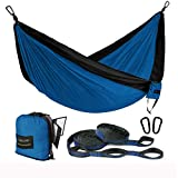 FARLAND Outdoor Camping Hammock - Portable Anti-Fade Nylon Single Hammock with 2 Piece 14 Loop Straps Parachute Lightweight Hammock for Hiking Backpacking