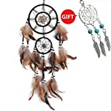 Shell Dream Catcher  Handmade Traditional Brown 6.5″ Diameter 22″ Long By YYAO
