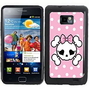 S2 Pink Polka Dots Skull Samsung Galaxy S2 / SII i9100 Case Cover