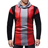 iZHH Men's Autumn Hoodie Top Blouse Winter Patchwork Rhombic Plaid Long Sleeve(Red,US-XL)