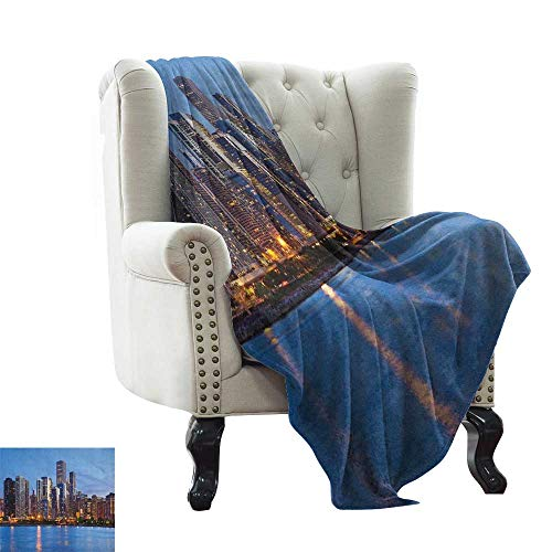 (Weighted Blanket for Kids Chicago Skyline,Sunset in Big City with Dramatic Sky Skyscrapers Evening by Lake, Blue Orange Taupe Blanket for Sofa Couch TV Bed All Season 60