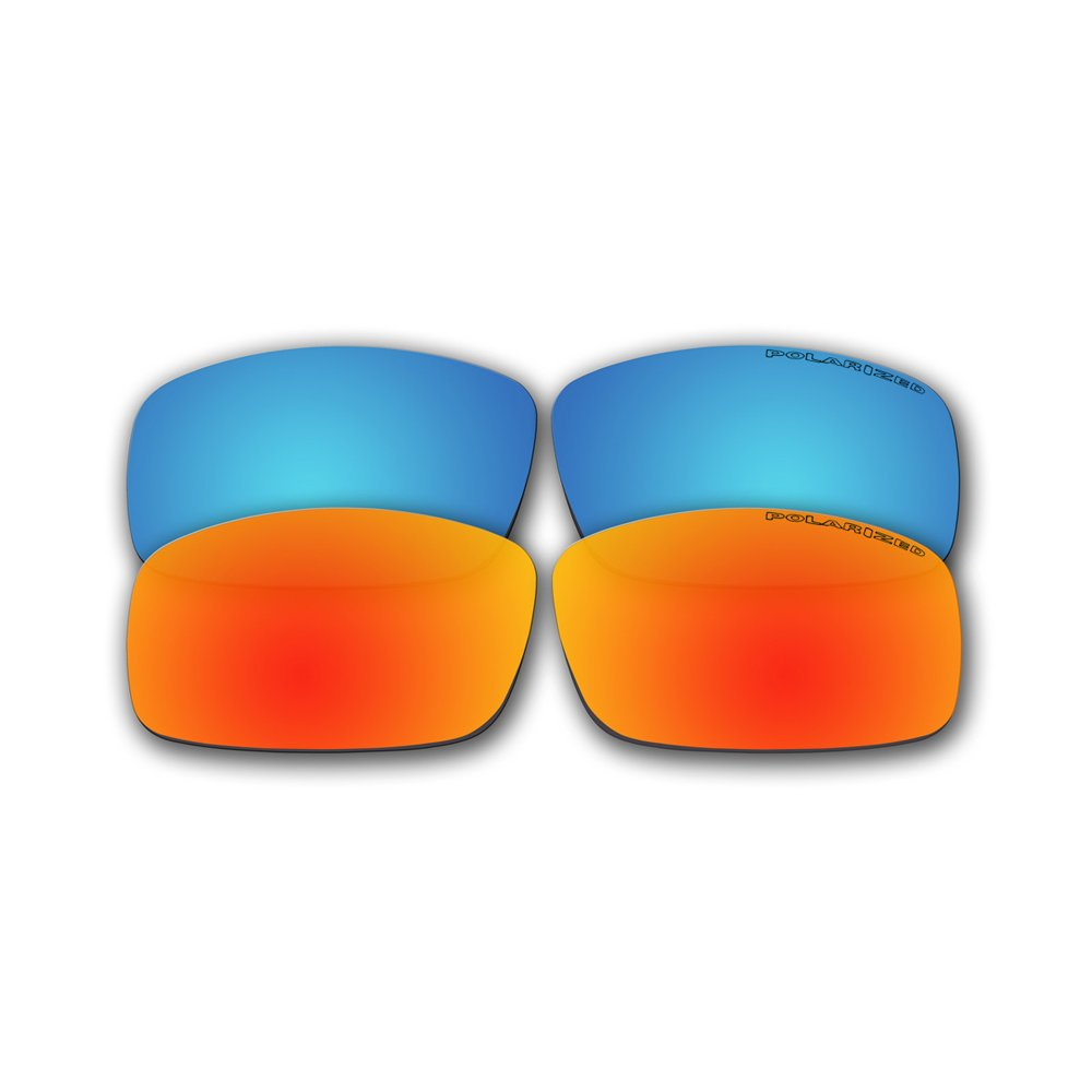 32b122d231 Amazon.com  2 Pairs Polarized Replacement Fire Red Mirror and Ice Blue  Mirror Lenses for Spy Optics Cooper XL Sunglasses  Sports   Outdoors