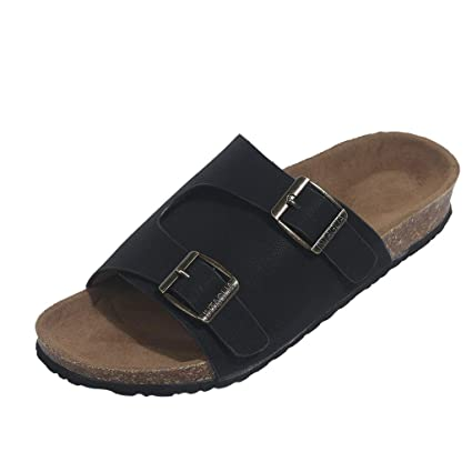 f4aaddbec627 Amazon.com  Womens Flats Cork Slippers Double Buckle Beach Shoes Anti-Slip  Toe Post Sandals  Home Audio   Theater
