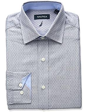 Men's Spread Collar Dobby Dress Shirt