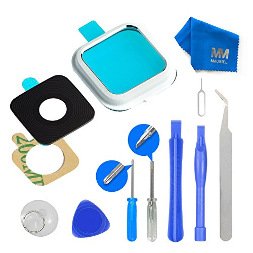 (MMOBIEL Back Rear Camera Real Glass Lens Cover Replacement Complet Set + Pre-installed 3M Adhesive + Full Toolkit incl. Tweezers for Samsung Galaxy Note 4 N910 Series (White))