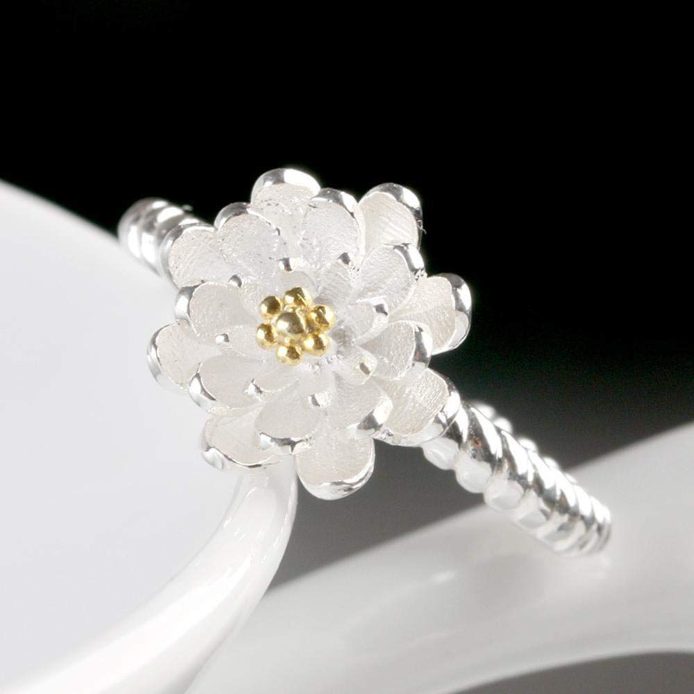 Thundertechs Female Fashion Sweet Lotus Thread Ring Give it to Dear People