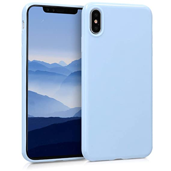 online retailer fd238 37a95 kwmobile TPU Silicone Case for Apple iPhone Xs Max - Soft Flexible Shock  Absorbent Protective Phone Cover - Light Blue Matte