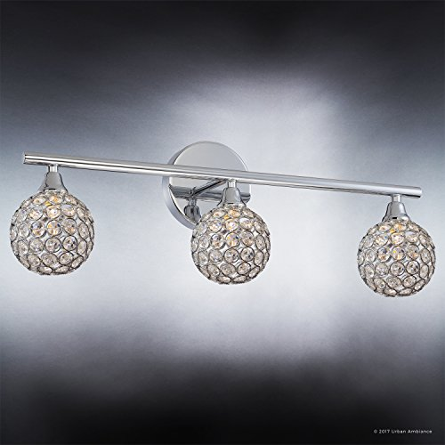 Luxury Crystal Globe LED Bathroom Vanity Light, Medium Size: 8''H x 23''W, with Modern Style Elements, Polished Chrome Finish and Crystal Studded Shades, G9 LED Technology, UQL2631 by Urban Ambiance by Urban Ambiance (Image #2)
