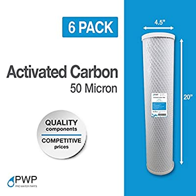 6 Pack 4.5 x 20 In Activated Carbon Water Filter Whole House RO CTO 50 Micron
