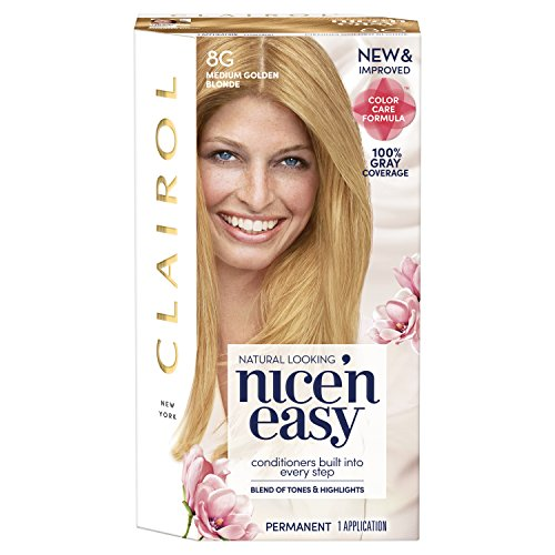 Clairol Nice 'N Easy Permanent Hair Color, 8G Medium Golden Blonde (Packaging May Vary)
