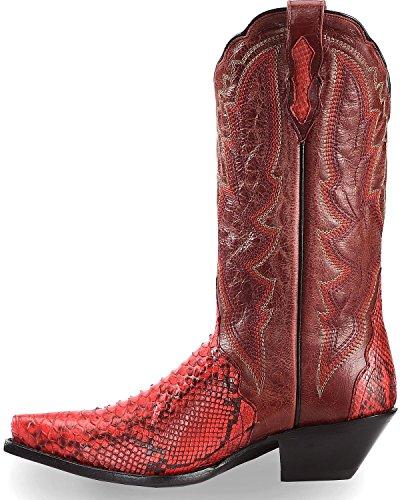 Dan Post Femmes Retour Cut Python Triad Cowgirl Boot Snip Toe - Dps388 Rouge