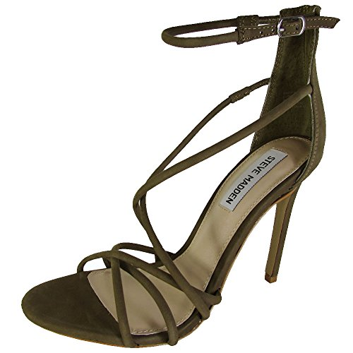 Steve Madden Womens Strapped High Heel Sandals Shoes, Olive Nubuck, US 10