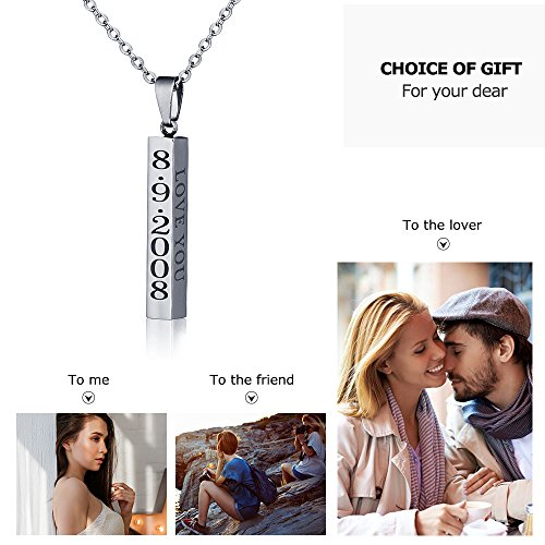 diamondidde Personalized Custom Message Names Pendant Necklace Unisex Stainless Steel Vertical Cuboid Bar Necklace (Silver) by Diamondido (Image #2)