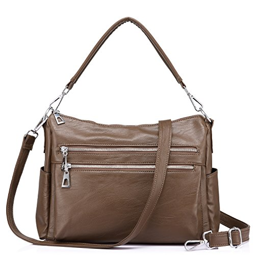 Medium Crossover (Realer Women Handbags Hobo Shoulder Bags Multi-Pocket Zipper Crossbody Bag)