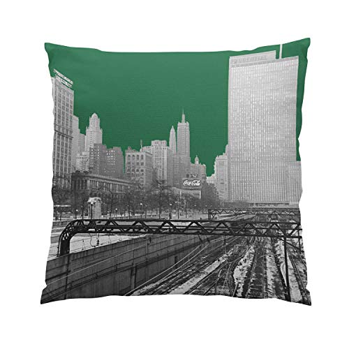 Suklly Chicago Rail Yards Michigan Avenue 1960'S Photo Plush Hidden Zipper Home Sofa Decorative Throw Pillow Cover Cushion Case 20x20 Inch Square Two Sides Design Printed Pillowcase