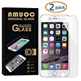 Amuoc 2 pack iPhone 7 plus Tempered Glass Screen Protector clear,9H Hardness, Anti-Scratch, Anti-Fingerprint
