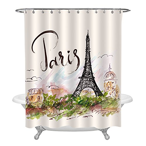 MitoVilla Watercolor Urban Outfitters Decor Shower Curtain, Hand Drawn Colorful Paris Eiffel Tower and Architecture City Scenery Bathroom Shower Decorations, 72