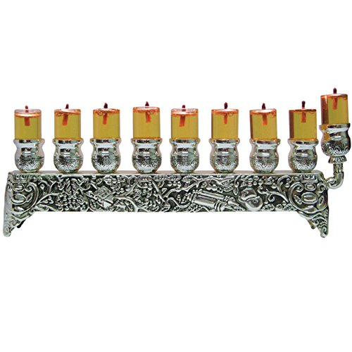 Ner Mitzvah Silver Plated Oil Wall Menorah - Fits Standard Chanukah Oil Cups and Large Candles - 3