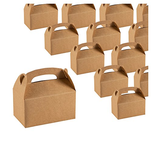 Treat Boxes - 24-Pack Paper Party Favor Boxes, Brown Kraft Goodie Boxes for Birthdays and Events, 2 Dozen Party Gable Boxes, 6 x 3.3 x 3.6 Inches (Decorations Valentines Up Light)