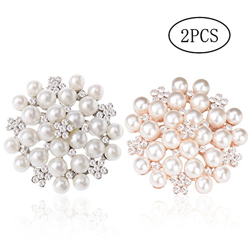 TAGOO Multi Circles Vintage Brooch Safety Pin Clip in Crystal Pearl for Women&Girls, Wedding/Banquet/Bouquet (Imitation Pearls 2pcs (Gold+Silver)) (Circle Gold Brooch)
