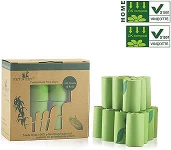 PET N PET Biodegradable Dog Waste Bags Compostable Poop Bags Pet Clean up Bags Green Eco-Friendly, Certified by EUR VINCOTTE. Meet EN13432, 240 Counts Certified