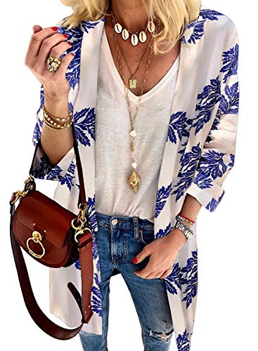 Dokotoo Womens Fashion Autumn Ladies Winter Casual Floral Printed Long Sleeve Open Front Kiminos Plus Size Cardigans Swimsuit Swim Bikini Cover Ups Swimwear Outerwear White - Winter Casual Fashion Ladies