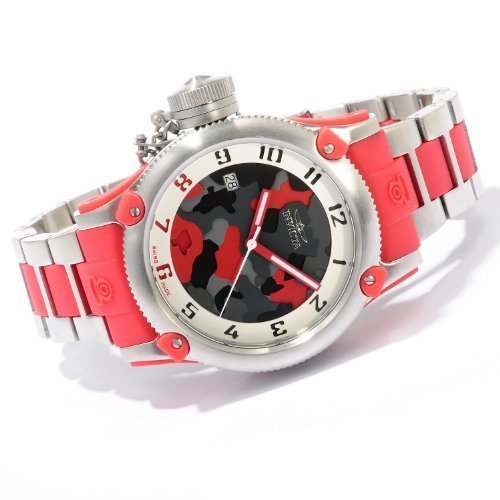 Invicta Womens LEFTY Russian Diver Swiss Made Stainless Steel & Red Camouflage Watch 11532