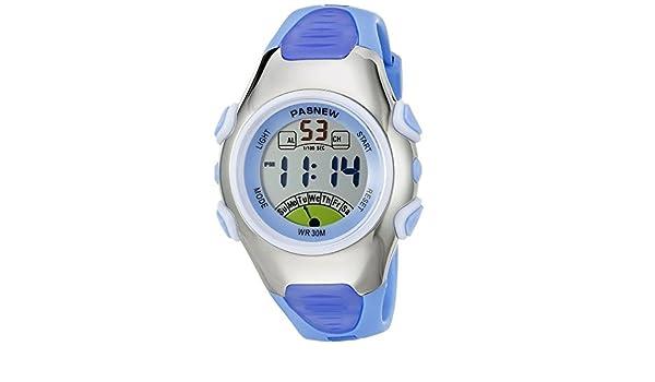 Gamuttek impermeable niños chicos chicas Moda Pasnew reloj deportivo digital con alarma, cronógrafo, fecha - azul: Amazon.es: Deportes y aire libre