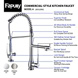 Fapully Single Hole Lead-free Brass Contemporary Pull Down Faucet,Single Handle Kitchen Sink Faucet with Stainless Steel Flexible Hose and Spring Sprayer, Brushed Nickel