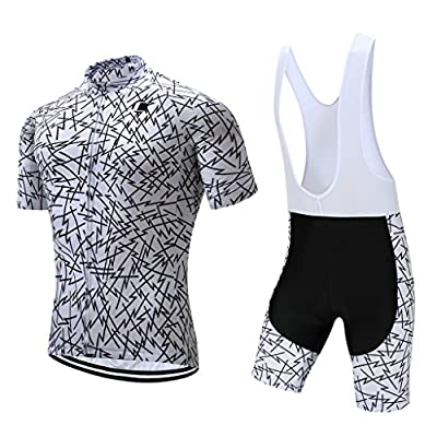 Coconut Ropamo Summer Men's Cycling Jersey Road Bike Jersey Cycling Bib Shorts with 4D Padded Cycling Kits for Men