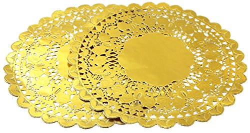12 Inch Gold Foil Metallic Round Paper Doilies Golden Foil Paper Doilies for Party Wedding (48 Pack) by hihiluxern (Image #1)