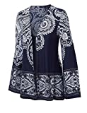 Made By Johnny WSK1196 Womens Print Chiffon Loose Kimono Style Cardigan M Navy_White