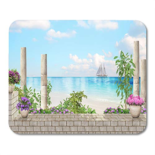 Emvency Mouse Pads Blue Antique The Old Columns Flowers Sea View White Mouse Pad for notebooks, Desktop Computers mats 16
