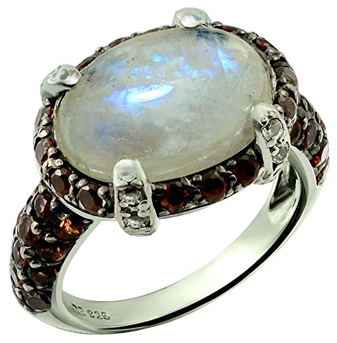 RB Gems Sterling Silver 925 Ring Rainbow Moonstone and Garnet 8.93 Cts with Rhodium-Plated Finish (6) ()