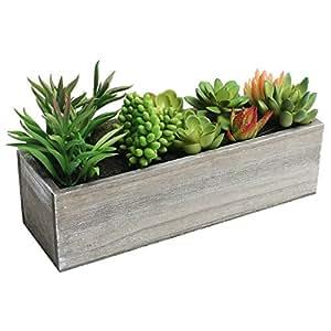 Artificial mixed succulent plants in rectangular brown wooden planter box home - Rectangular succulent planter ...