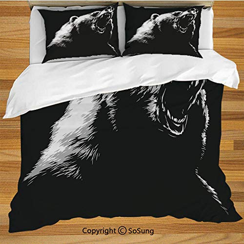 (Bear Queen Size Bedding Duvet Cover Set,Sketch Line Art Style Roaring Carnivore Fur and Fangs Aggressive Predator Fauna Decorative Decorative 3 Piece Bedding Set with 2 Pillow Shams,Black White Grey)