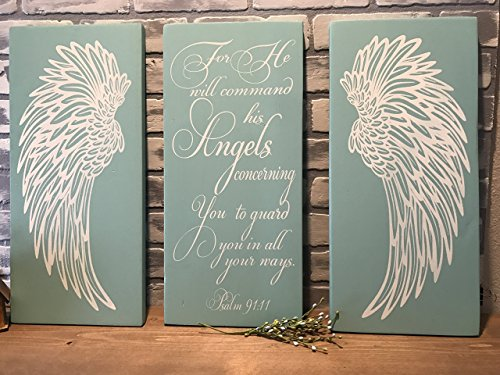 (Angel Wings Wall Decor, Psalm 91:11 Angels Scripture Verse, Shabby Chic Decor, Wall Decor, Nursery Decor, Baby Shower Gift, Housewarming, Wedding Gift)
