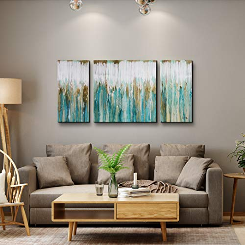 Abstract Wall Art for Living Room Hand Painted Oil Painting Breezy Valley 3-Piece Gallery-Wrapped Artwork Set for Home Decoration Office 24x48inch